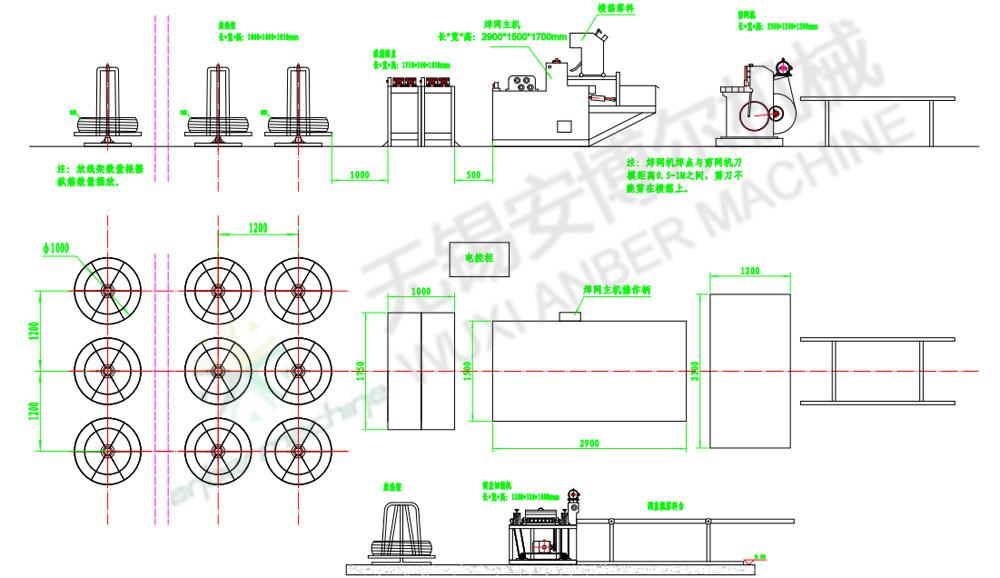 Mesh welding line ABE-2/4-1250 - anber wire mesh machine